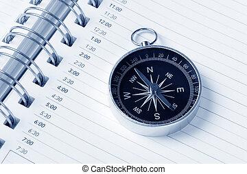 calendrier, ordre du jour, compas