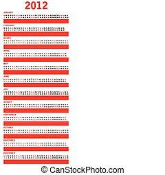 calendrier, spécial, rouges, 2012