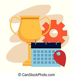 calendrier, trophée, tasse, roue, engrenage, planificateur