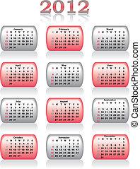 calendrier, vecteur, 2012