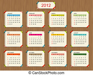 calendrier, vecteur, conception, ton, 2012