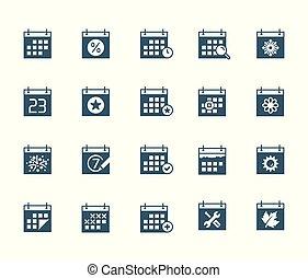 calendrier, vecteur, ensemble, icône