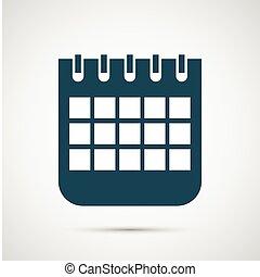 calendrier, vecteur, isolé, fond, blanc