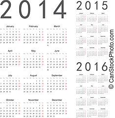 calendriers, vecteur, année, 2016, 2015, 2014, européen