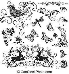 calligraphic, éléments, ensemble, vecteur, conception