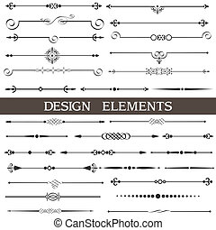 calligraphic, éléments, page, décor, ensemble, vecteur, conception