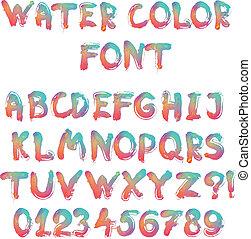 calligraphic, alphabet, aquarelle, manuscrit