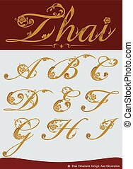 calligraphic, alphabet, ensemble, thaï