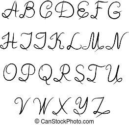 calligraphic, alphabet