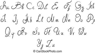 calligraphic, alphabet, vecteur