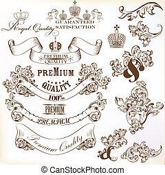 calligraphic, collection, decorat