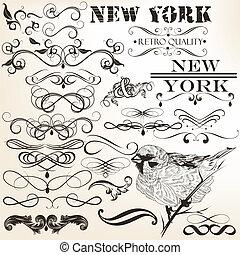calligraphic, collection, vecteur
