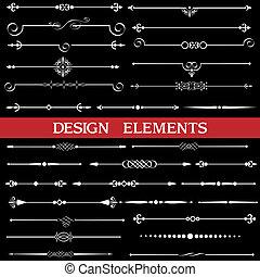 calligraphic, page, décor, frontières, ensemble, vecteur