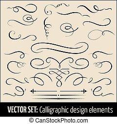 calligraphic, page, elements., ensemble, vecteur, conception, décoration