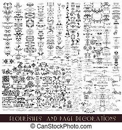 calligraphic, vecteur, collection, ou, décoratif, flourishes, éléments, conception, mega, ensemble