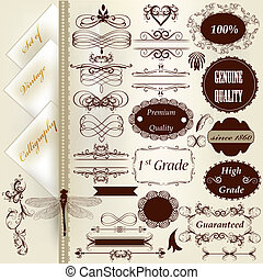 calligraphic, vendange, collection