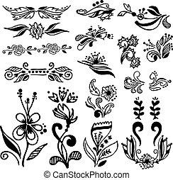 calligraphic, vendange, mettez stylique