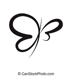 calligraphie, résumé, symbole, papillon, vecteur