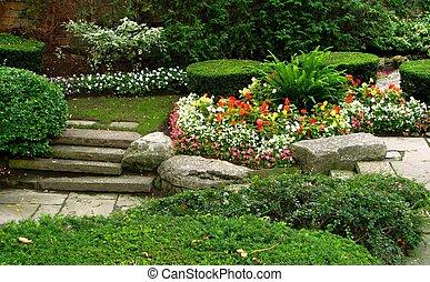 calme, jardin