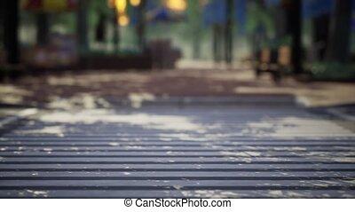 calme, parc, arbres, bancs, ville