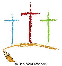 calvaire, crayon, coloré, croix
