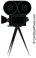 caméra, silhouette