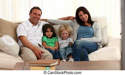 camer, famille, devant, poser