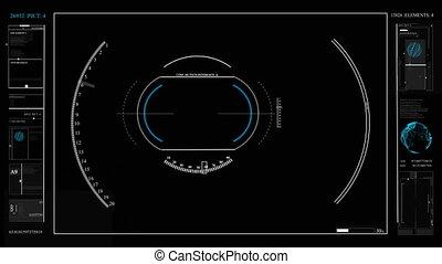 cameras, hud., sci, photo, spacecraft., coutume, interface, vidéo, fi, technologie pointe, viseur, futuriste