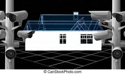 cameras, rotation, bleu, enregistrement, modèle, sur, arrière-plan., animation, maison, 3d