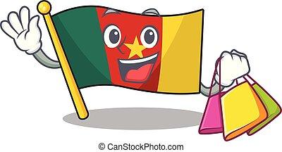 camerounais, achats, caractère, sourire, drapeau, dessin animé