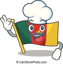 camerounais, caractère, chef cuistot, sourire, drapeau, dessin animé