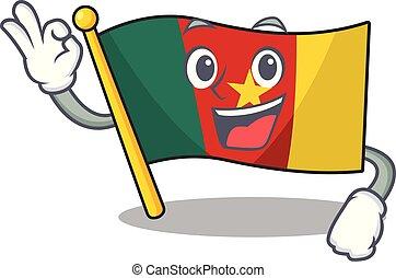camerounais, caractère, d'accord, sourire, drapeau, dessin animé