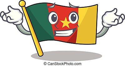 camerounais, caractère, grimacer, sourire, drapeau, dessin animé