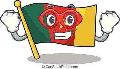camerounais, caractère, héros, sourire, drapeau, dessin animé, super
