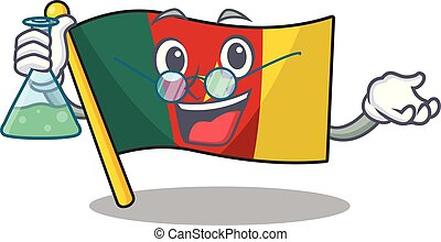 camerounais, caractère, prof, sourire, drapeau, dessin animé