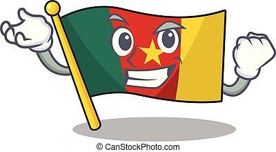 camerounais, caractère, réussi, sourire, drapeau, dessin animé