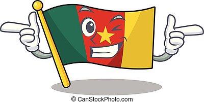 camerounais, caractère, sourire, clignement, drapeau, dessin animé