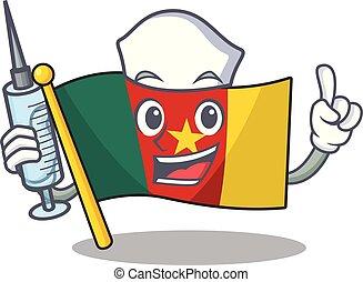 camerounais, caractère, sourire, drapeau, dessin animé, infirmière