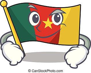 camerounais, caractère, sourire, drapeau, dessin animé, smirking