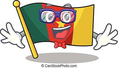 camerounais, caractère, sourire, drapeau, geek, dessin animé