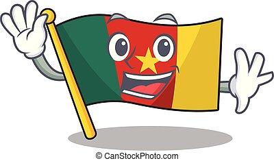 camerounais, caractère, sourire, drapeau ondulant, dessin animé