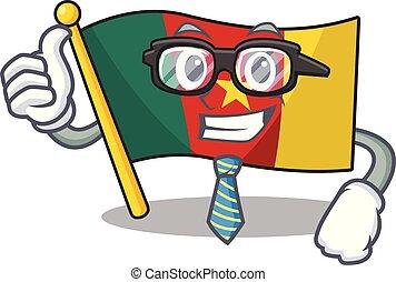 camerounais, homme affaires, caractère, sourire, drapeau, dessin animé