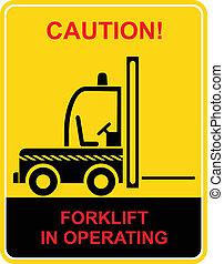 camion, élévateur, -, signe