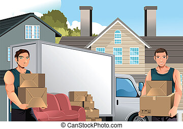 camion, boîtes, hommes, en mouvement