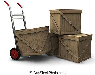 camion, caisses, main