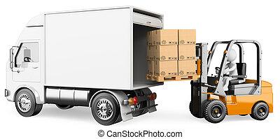 camion chariot élévateur fourche, chargement, gens., ouvrier, 3d, blanc