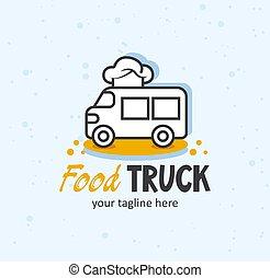 camion, concept., nourriture, rigolote, logo., chapeau chef, créatif