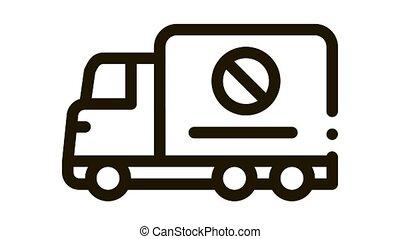 camion, croix, marque, icône, animation