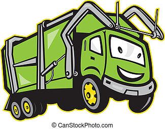 camion, déchets, déchets, dessin animé