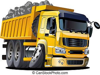 camion, dessin animé, décharge